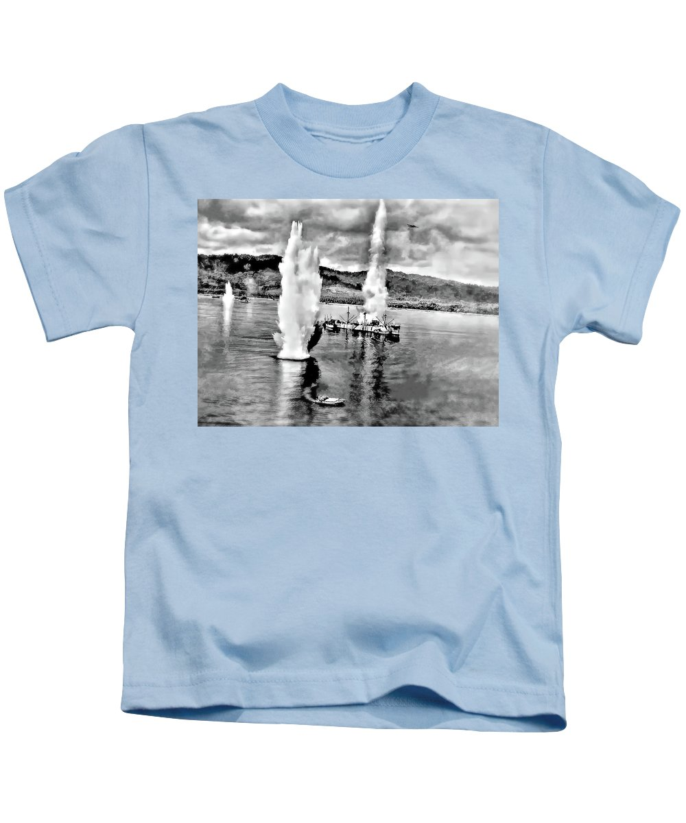 Ww Ii Kids T-Shirt featuring the photograph Bomber Attack by Steve Harrington