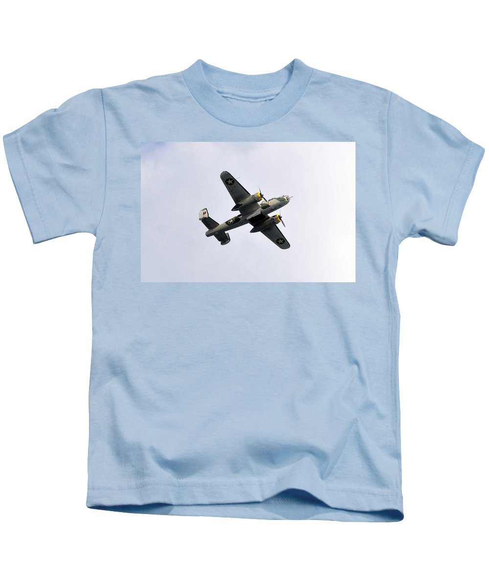 North American B 25 Mitchel Bomber Kids T-Shirt featuring the photograph Bombs Away by David Lee Thompson