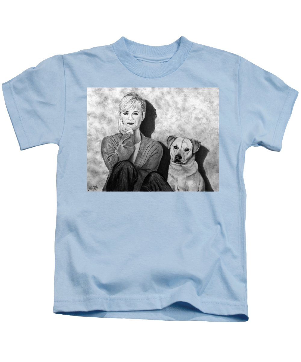 Bonnie Hunt And Charlie Kids T-Shirt featuring the drawing Bonnie Hunt And Charlie by Peter Piatt