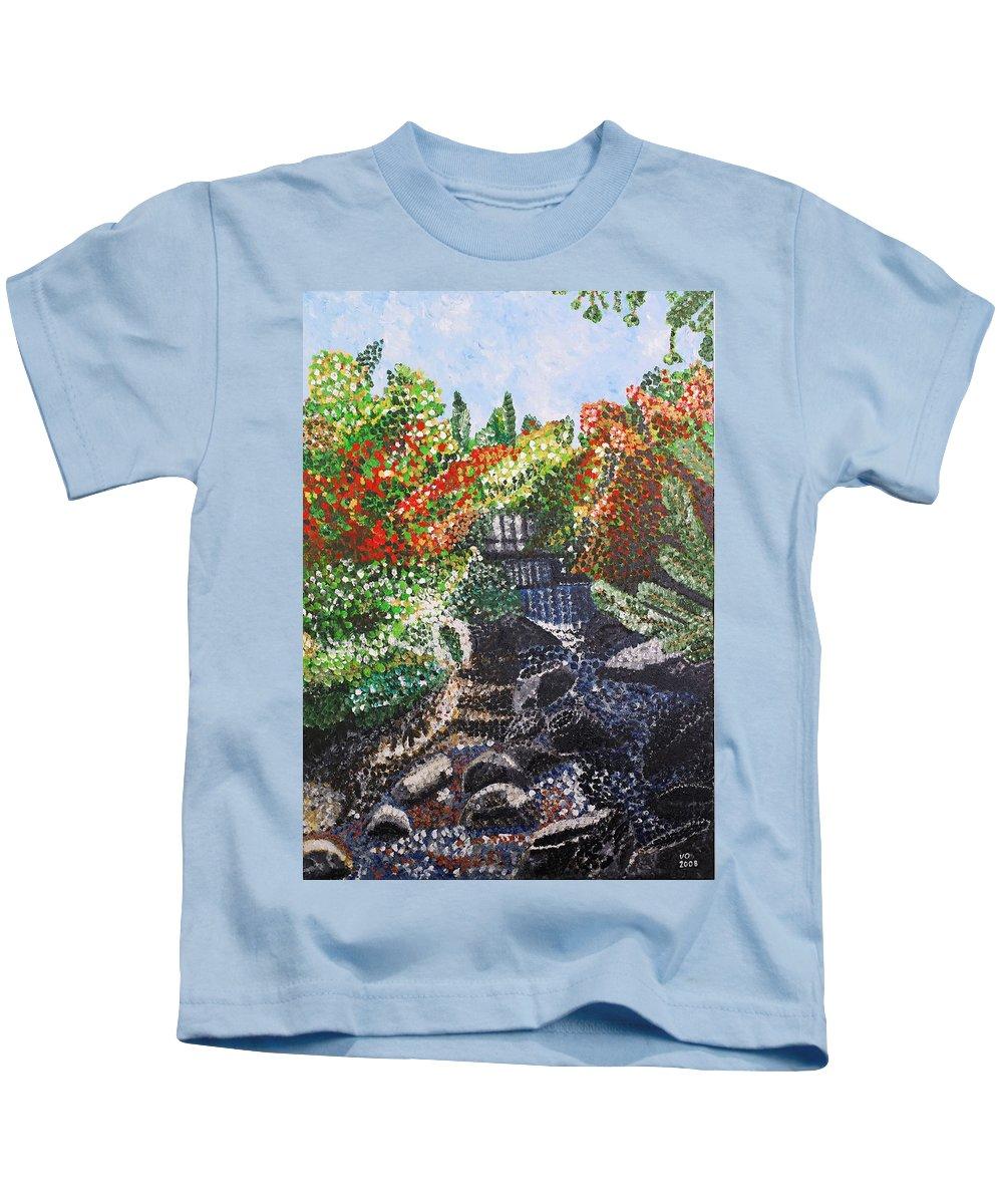 Landscape Kids T-Shirt featuring the painting Botanic Garden Merano 1 by Valerie Ornstein