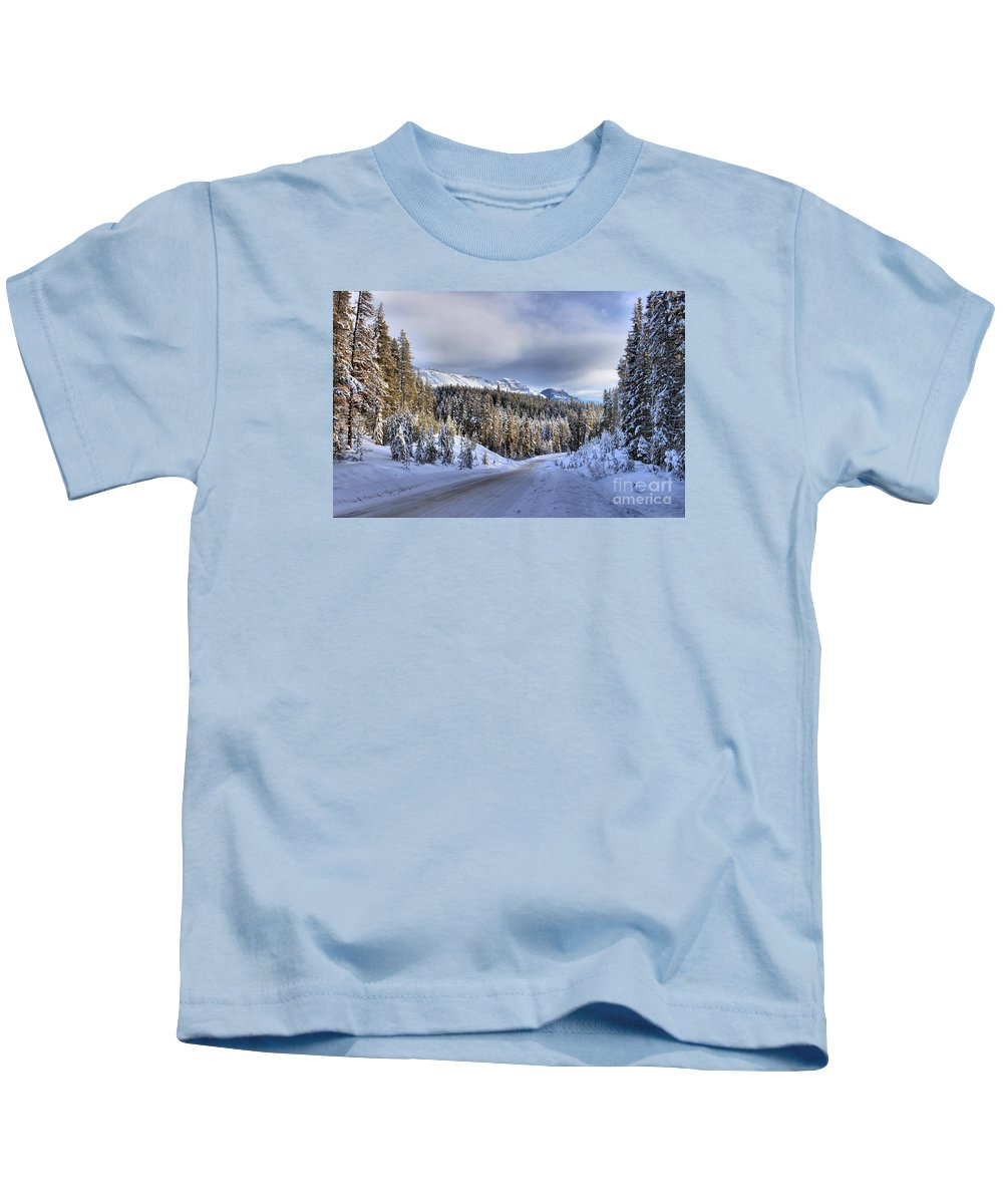 Bow Valley Kids T-Shirt featuring the photograph Bow Valley Parkway Winter Conditions by Adam Jewell