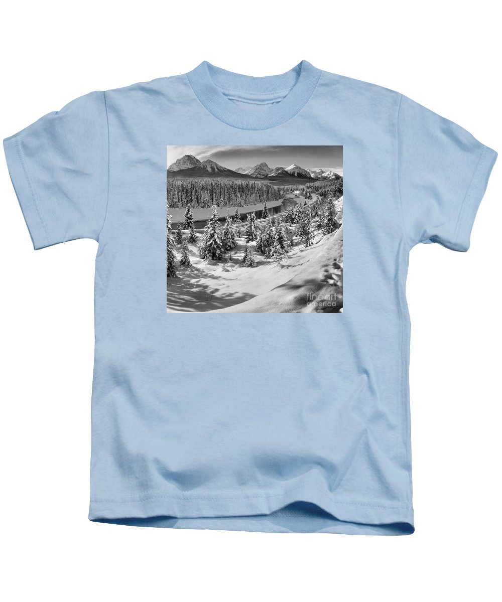Black And White Kids T-Shirt featuring the photograph Morant's Curve Black And White by Adam Jewell