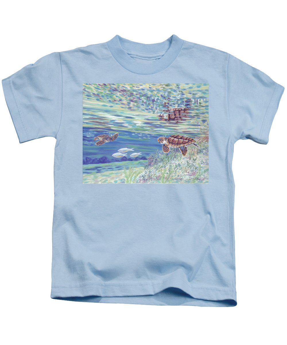 Ocean Kids T-Shirt featuring the painting Boy Meets Girl by Danielle Perry