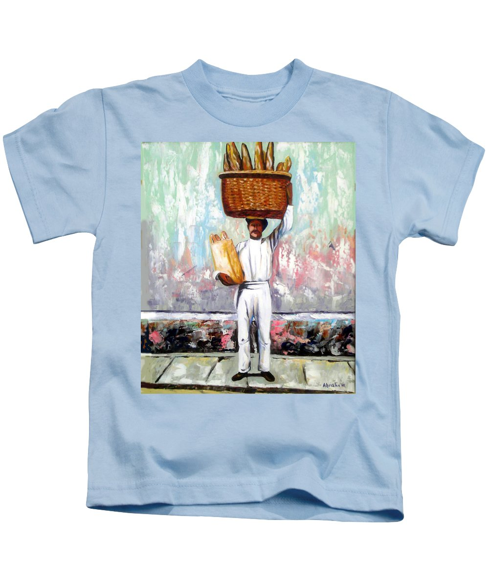 Bread Kids T-Shirt featuring the painting Breadman by Jose Manuel Abraham