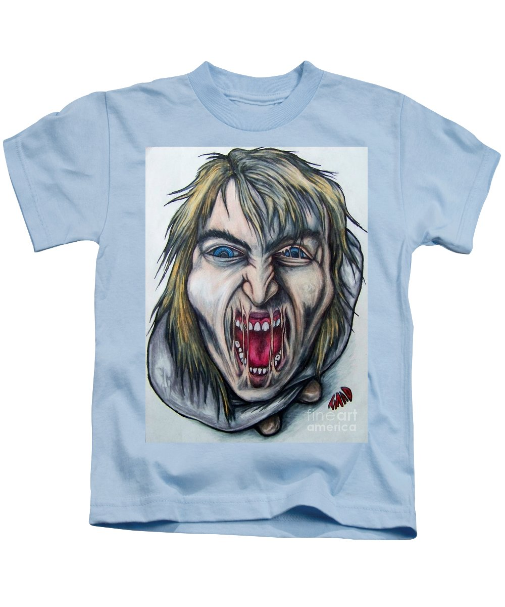 Tmad Kids T-Shirt featuring the drawing Break The Silence by Michael TMAD Finney