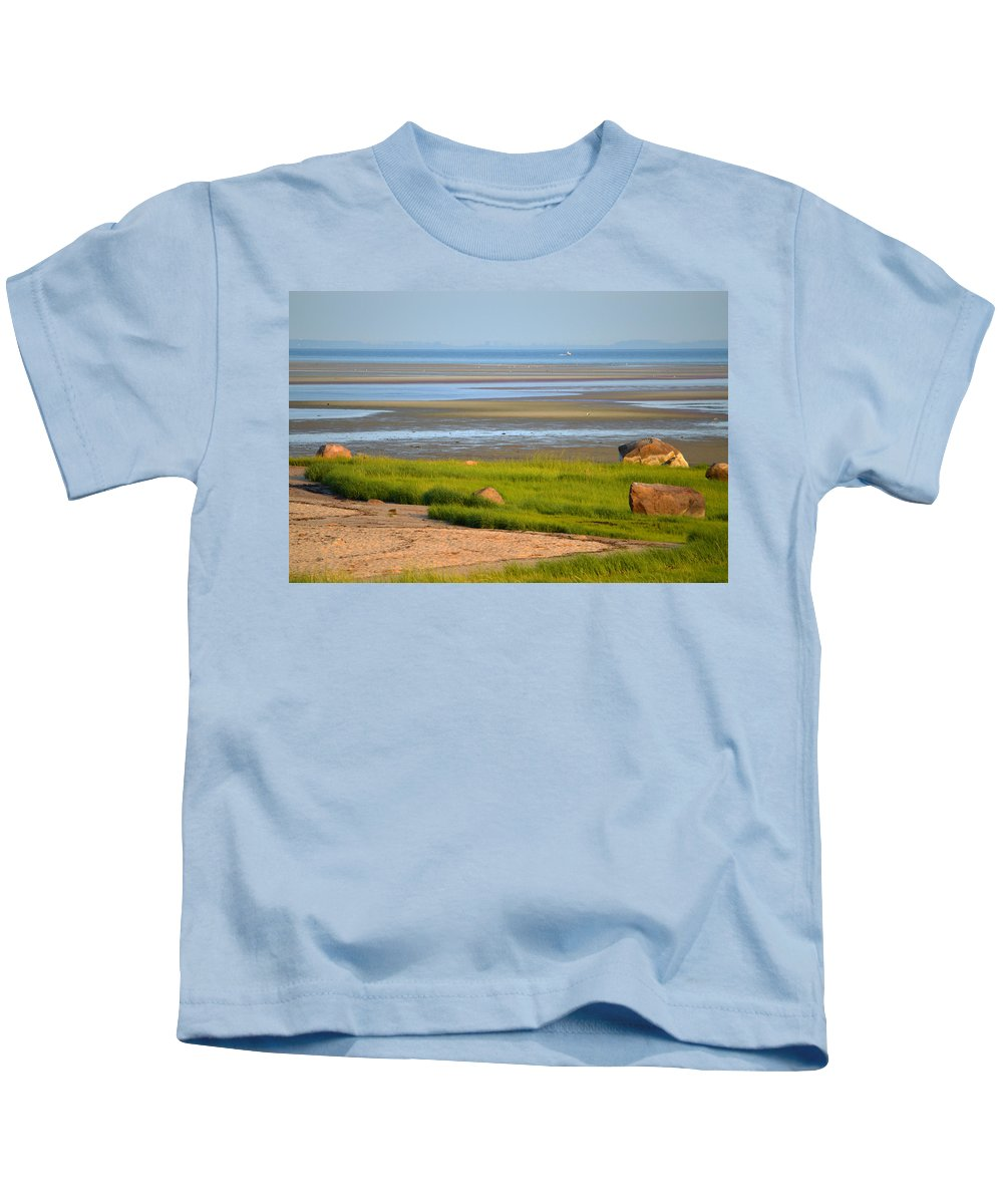 Sunrise Kids T-Shirt featuring the photograph Breakwater Beach At Low Tide by Dianne Cowen