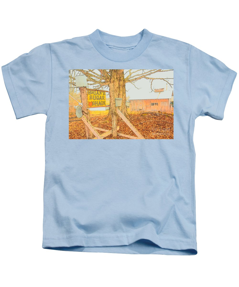 Rural Kids T-Shirt featuring the photograph Brian's Sugar Shack by George Scheller