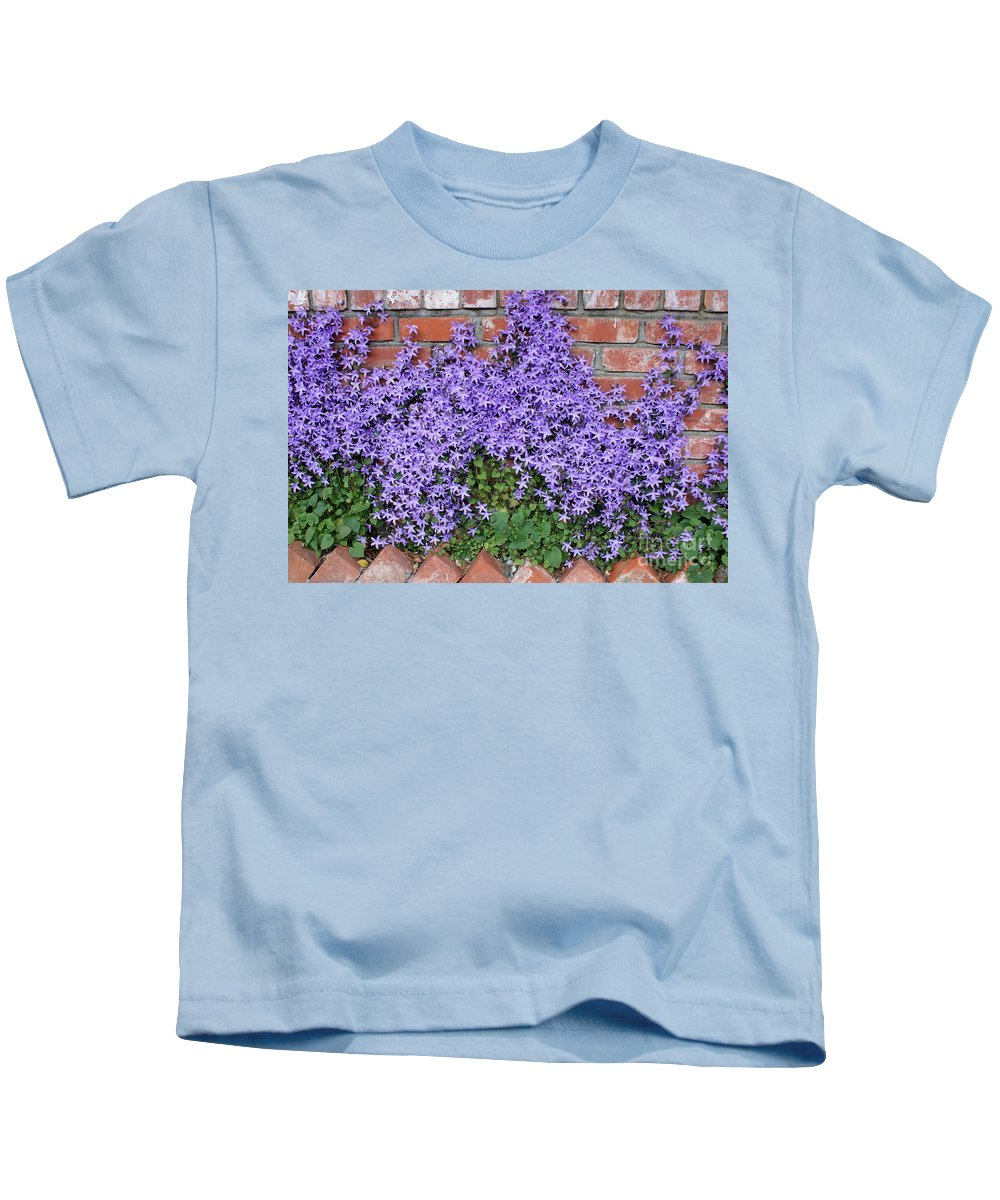 Blue Flowers Kids T-Shirt featuring the photograph Brick Wall With Blue Flowers by Carol Groenen