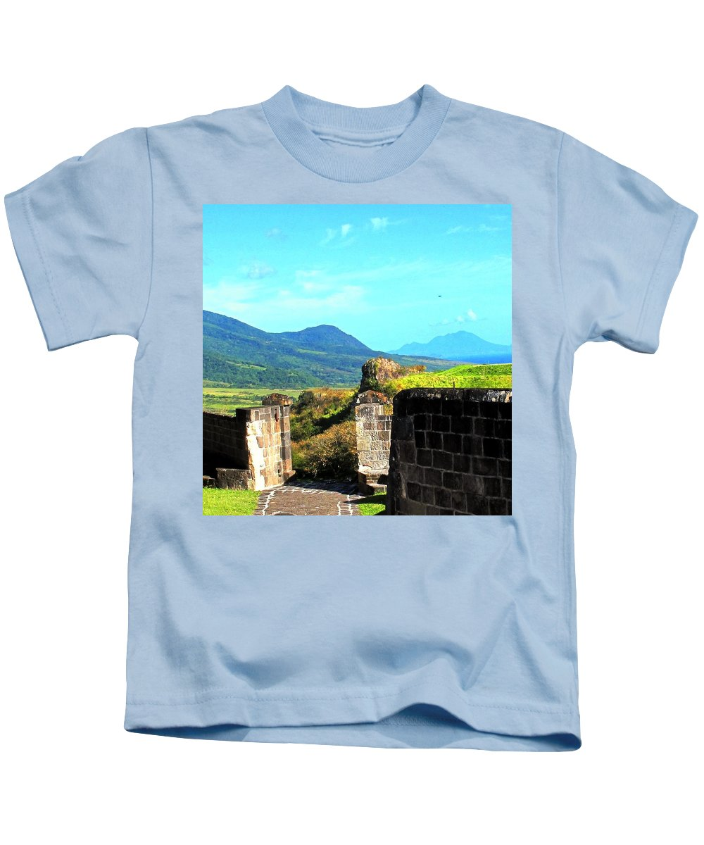St Kitts Kids T-Shirt featuring the photograph Brimstone Towards Nevis by Ian MacDonald