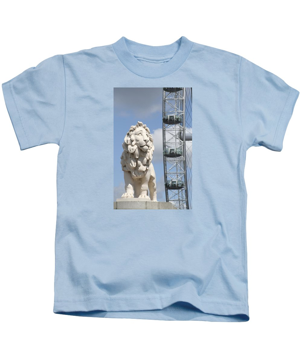 Lion Kids T-Shirt featuring the photograph Britannia Lion by Margie Wildblood