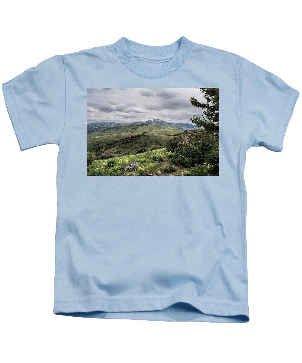 Nevada Kids T-Shirt featuring the photograph Buckskin Cyn June-3125-r2. by Karen W Meyer