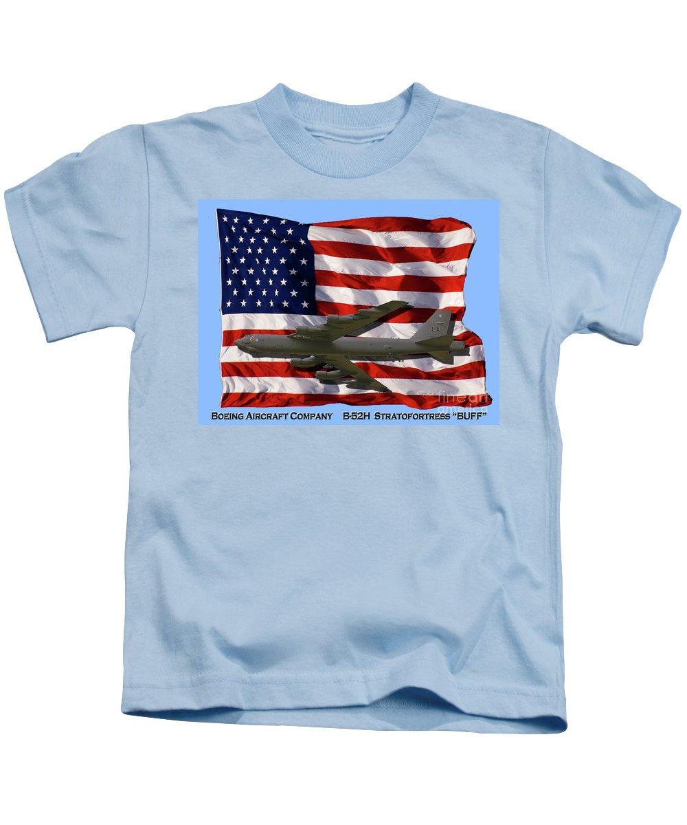 Boeing Kids T-Shirt featuring the photograph Buff And Flag by Tim Mulina