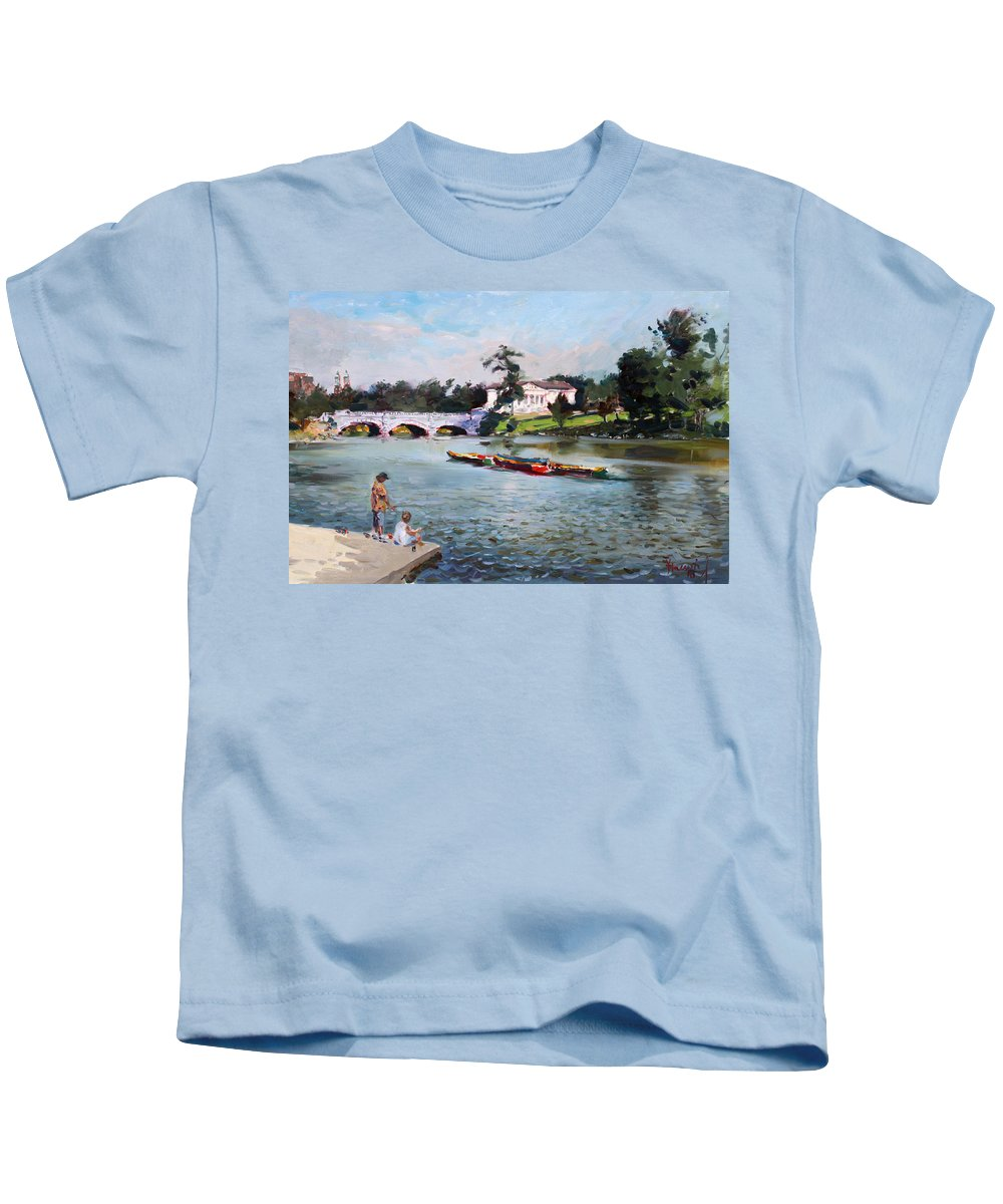 Landscape Kids T-Shirt featuring the painting Buffalo Fishing Day by Ylli Haruni