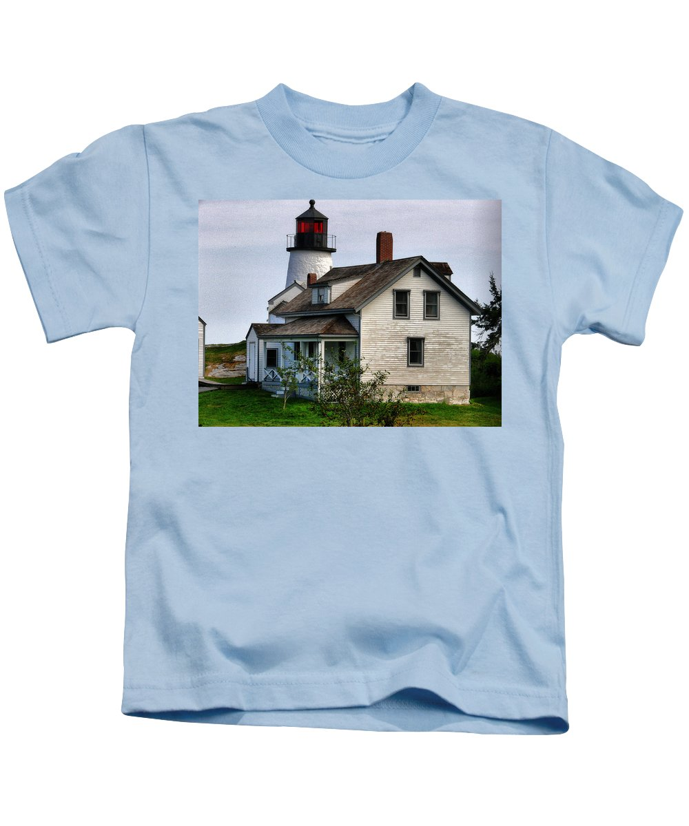 New England Lighthouse Kids T-Shirt featuring the photograph Burnt Island Lighthouse Side View by Nancie DeMellia