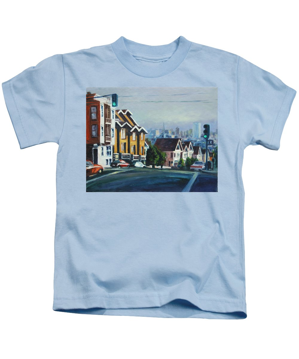 Cityscape Kids T-Shirt featuring the painting Bush Street by Rick Nederlof