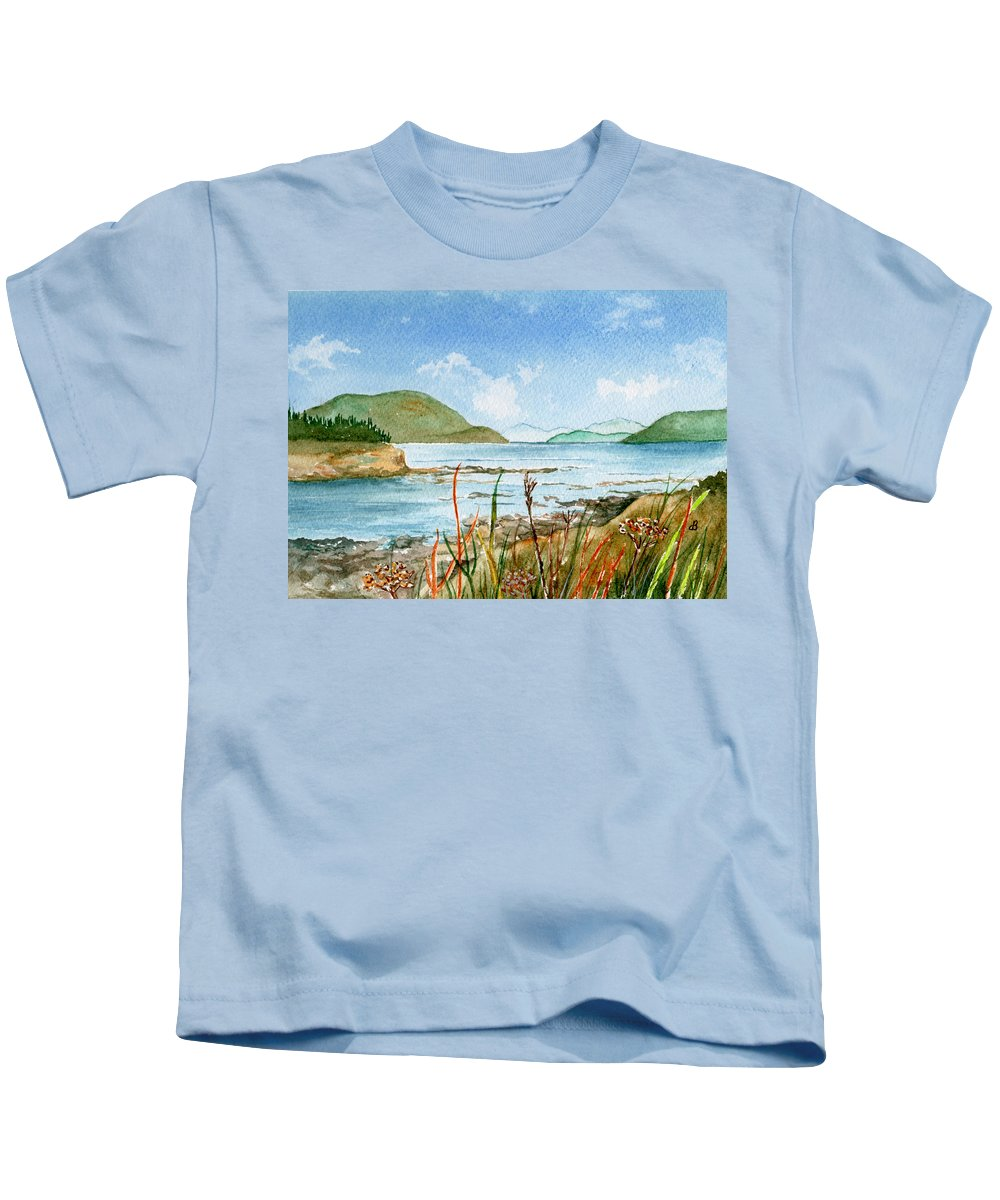 Landscape Kids T-Shirt featuring the painting By The Bay by Brenda Owen