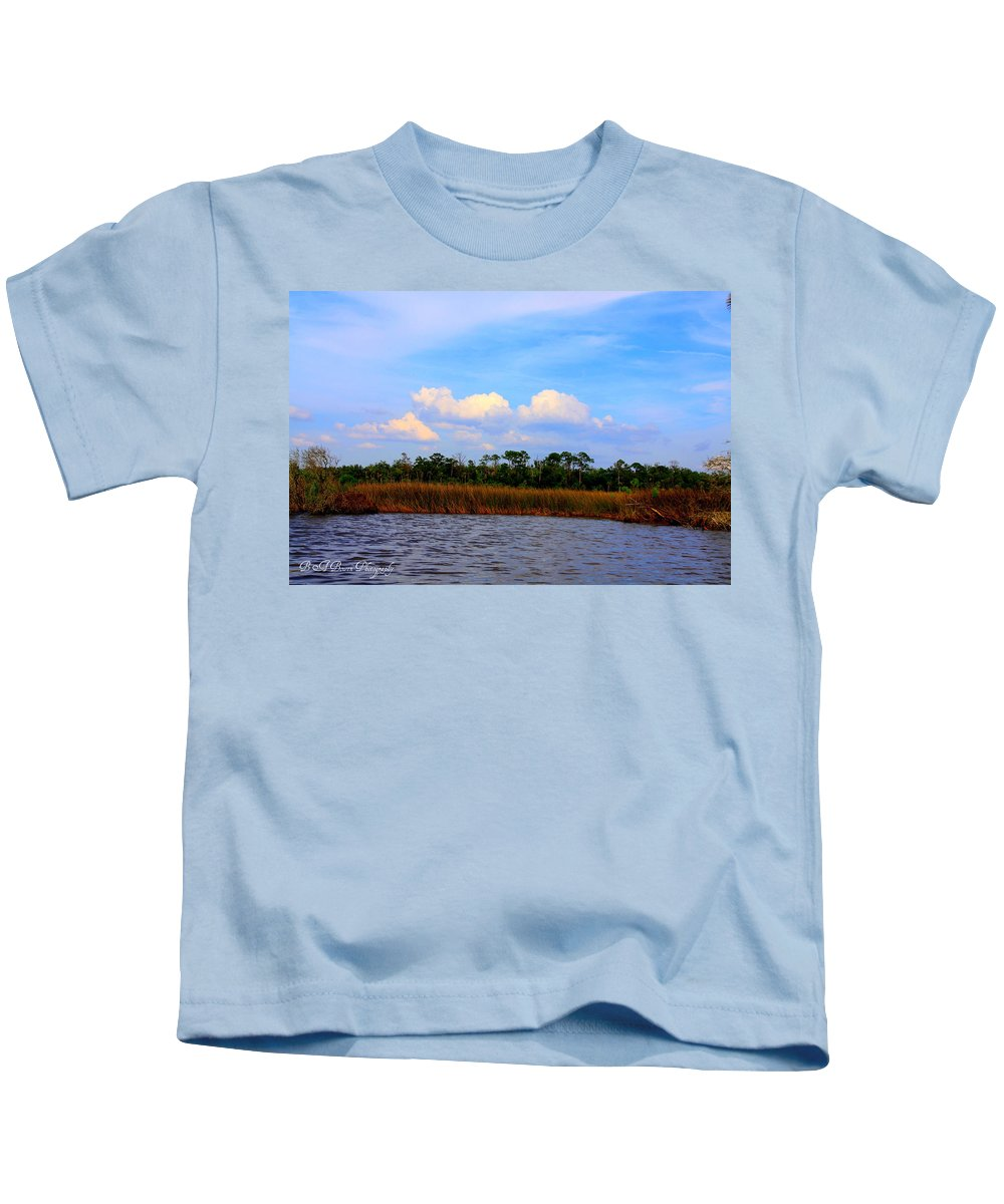 Cabbage Palms Kids T-Shirt featuring the photograph Cabbage Palms And Salt Marsh Grasses Of The Waccasassa Preserve by Barbara Bowen