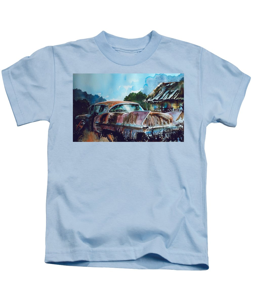 Caddy Kids T-Shirt featuring the painting Caddy Subsiding by Ron Morrison