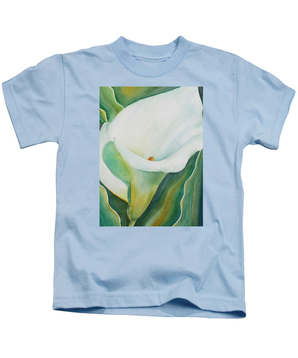 Flower Kids T-Shirt featuring the painting Calla Lily by Ruth Kamenev