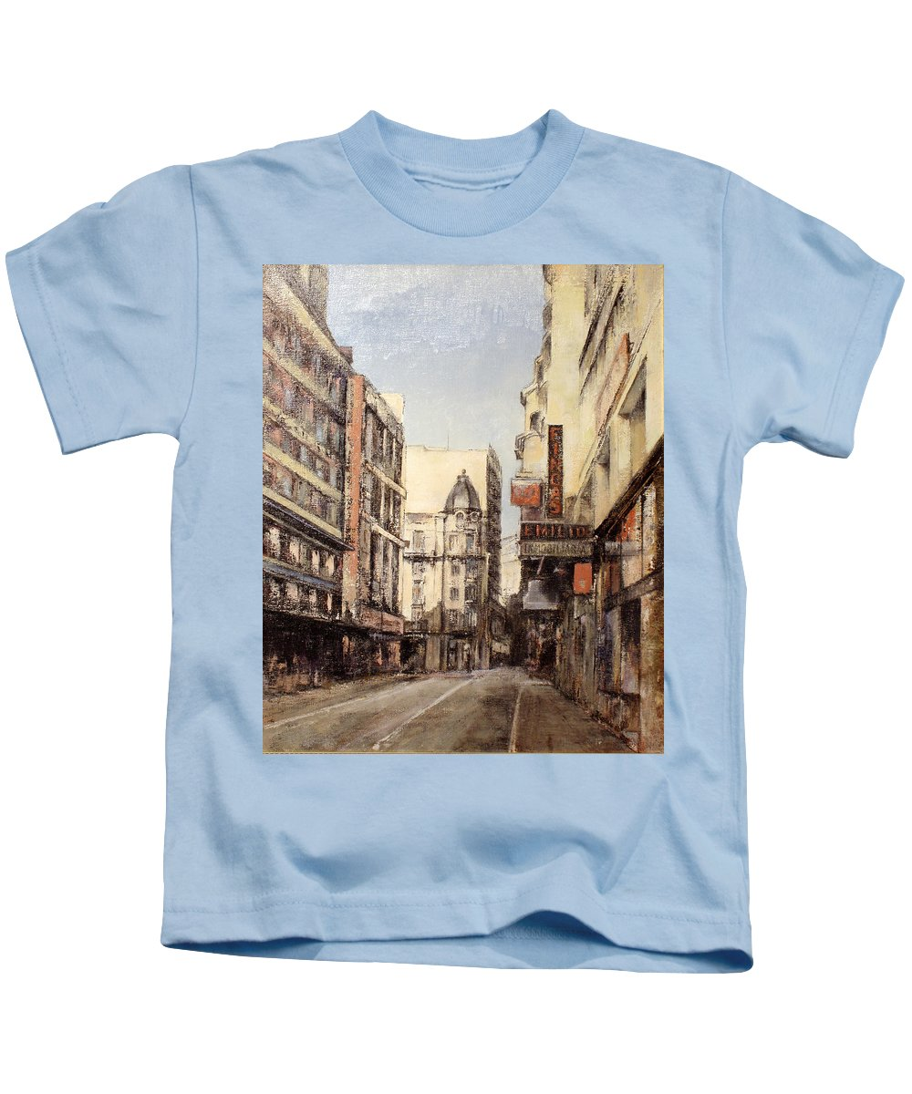 Leon Kids T-Shirt featuring the painting Calle Independencia -Leon by Tomas Castano