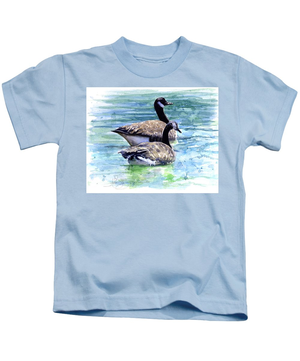 Canada Kids T-Shirt featuring the painting Canada Geese by John D Benson