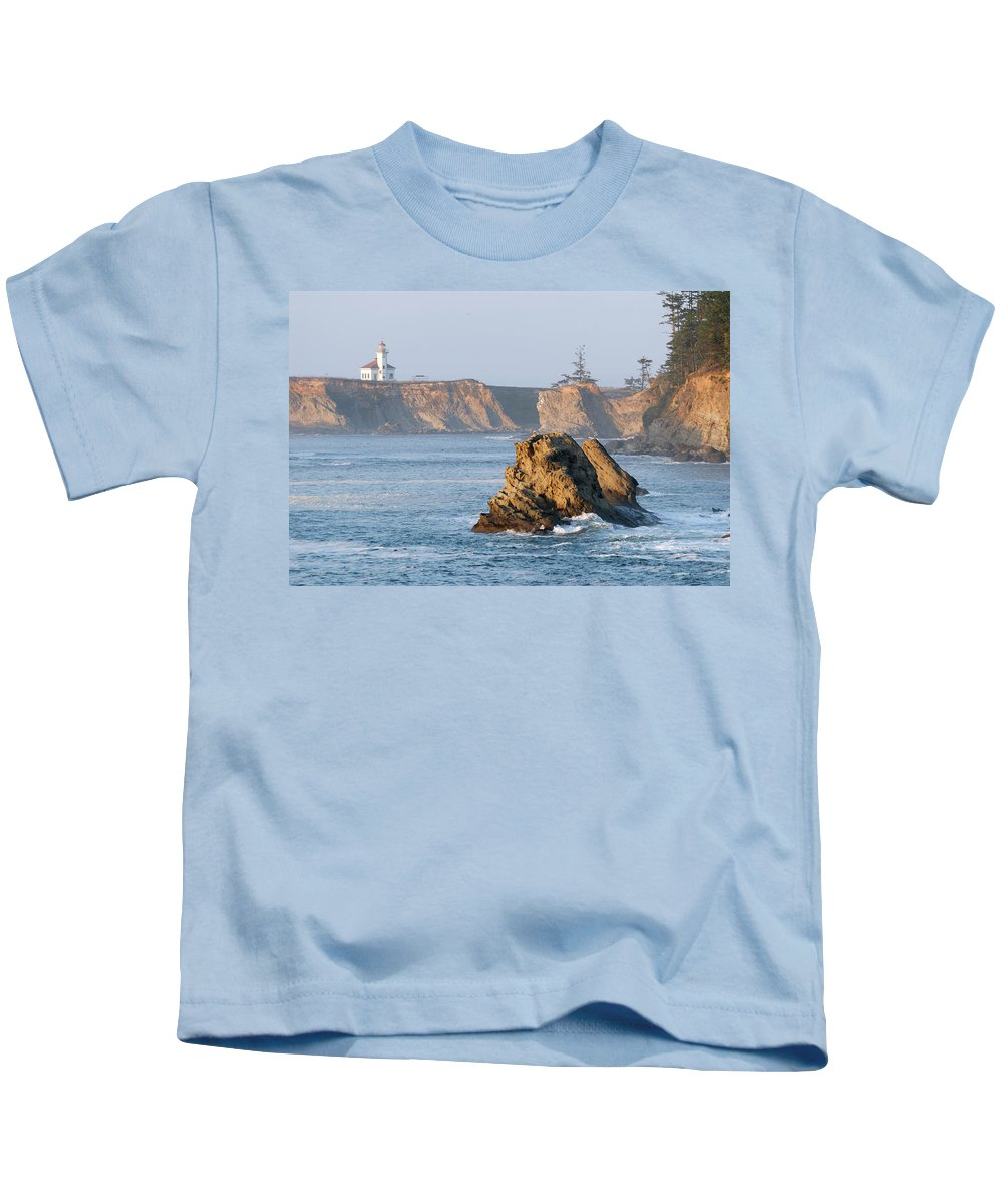 Lighthouse Kids T-Shirt featuring the photograph Cape Arago Lighthouse by Betty LaRue