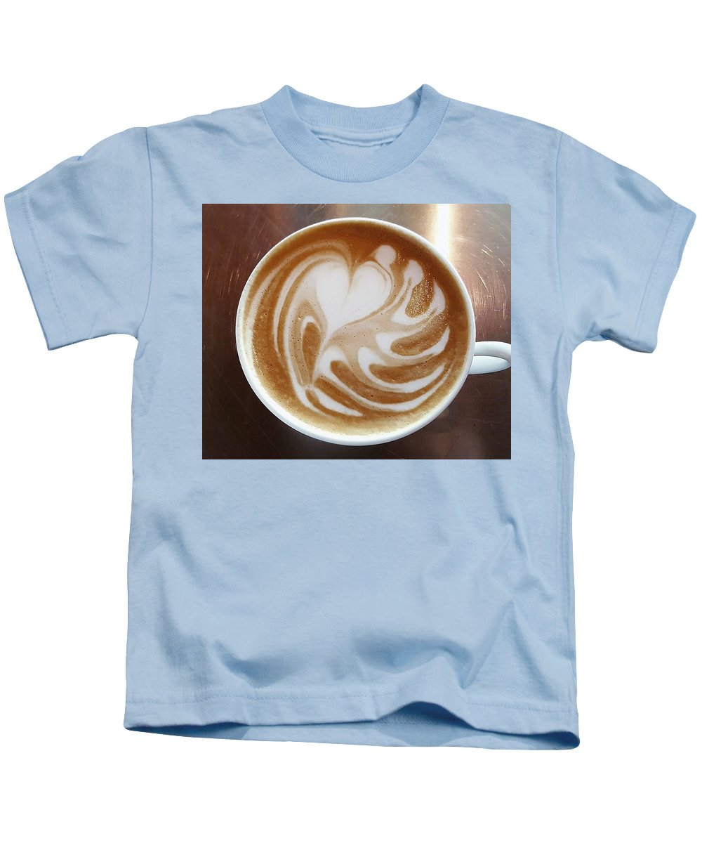 Caffe Cappuccino Dark Cafe Kids T-Shirt featuring the photograph Cappuccino 2 by Alena Zelenkova
