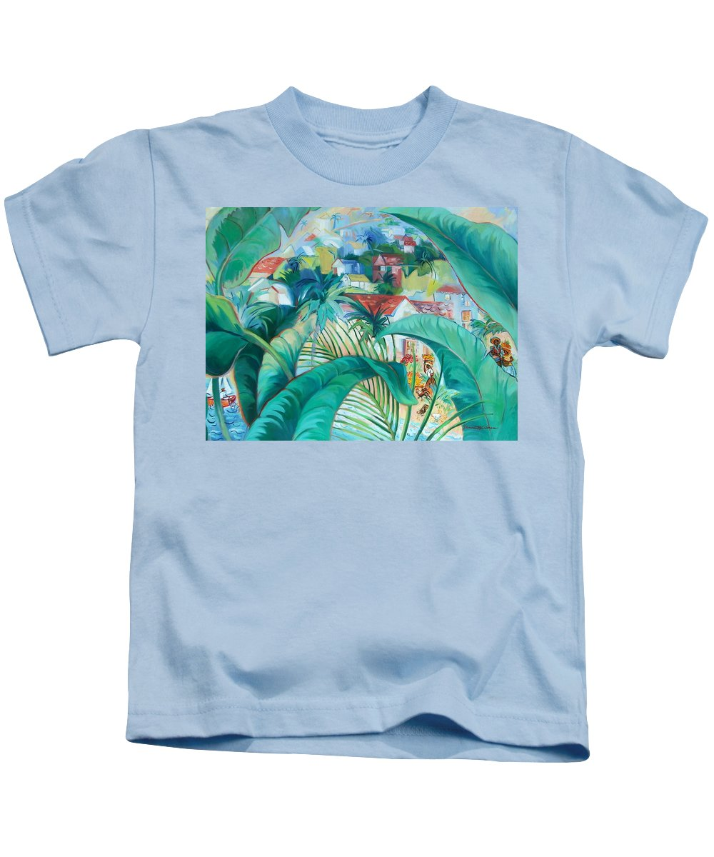 Caribbean Figures Kids T-Shirt featuring the painting Caribbean Fantasy by Dianna Willman