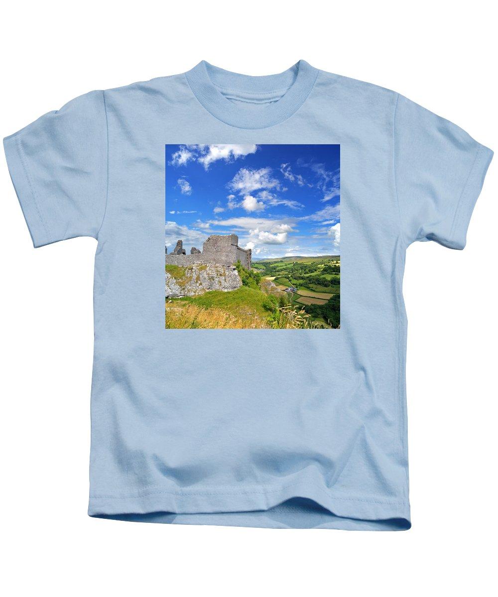 Carreg Cennen Kids T-Shirt featuring the photograph Carreg Cennen Castle 1 by Phil Fitzsimmons