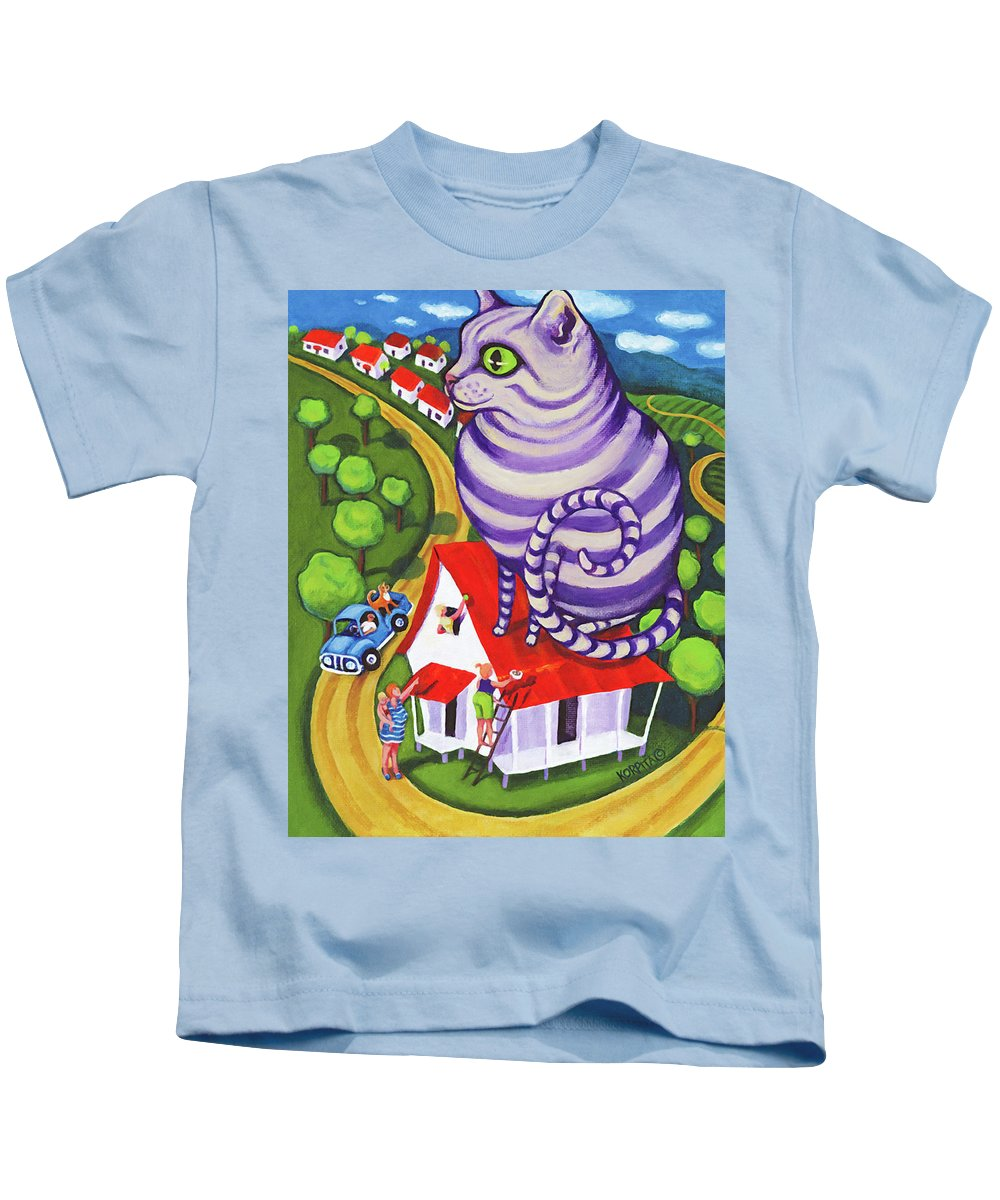 Rebecca Korpita Kids T-Shirt featuring the painting Cat On A Red Tin Roof by Rebecca Korpita