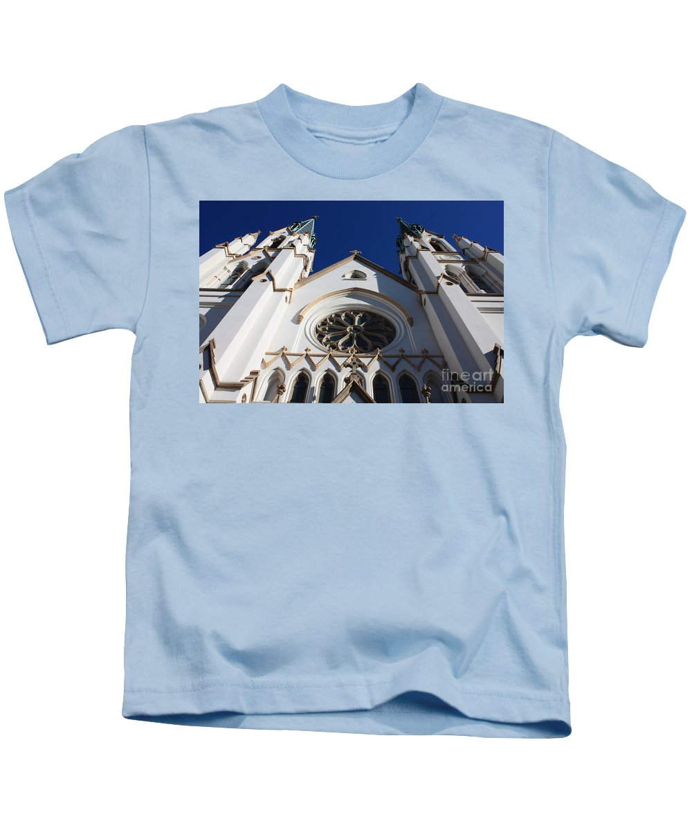 Cathedral Of St John The Babtist Kids T-Shirt featuring the photograph Cathedral Of St John The Babtist In Savannah by Carol Groenen