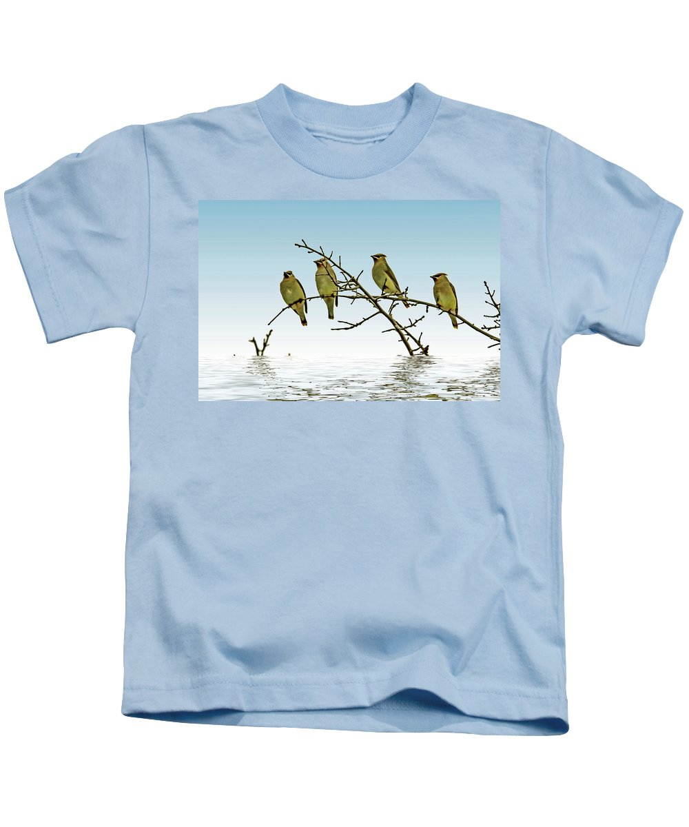 Texture Kids T-Shirt featuring the photograph Cedar Waxwings On A Branch by Geraldine Scull
