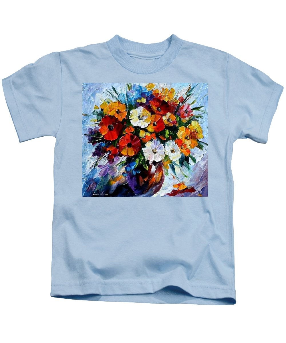 Flowers Kids T-Shirt featuring the painting Celebration Bouquet by Leonid Afremov