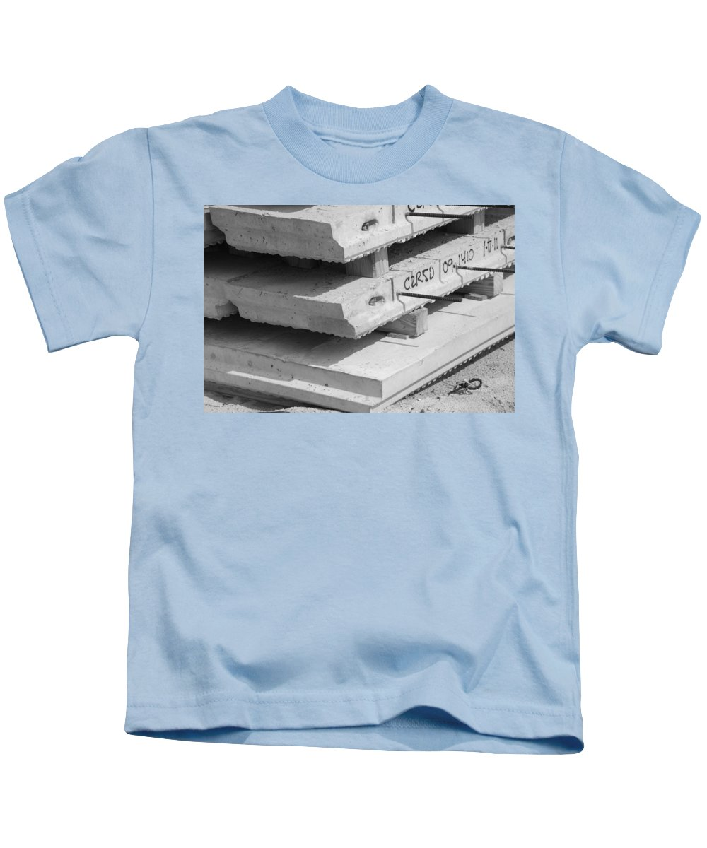 Black And White Kids T-Shirt featuring the photograph Cement Floors by Rob Hans