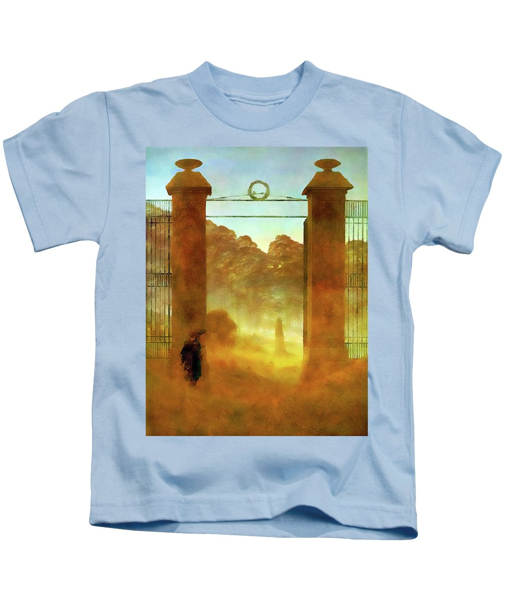 Landscape Kids T-Shirt featuring the painting Cemetary At Dusk by Media Impasto Paper