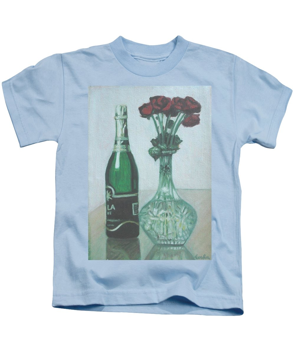 Champagne Kids T-Shirt featuring the painting Champagne And Roses by Usha Shantharam