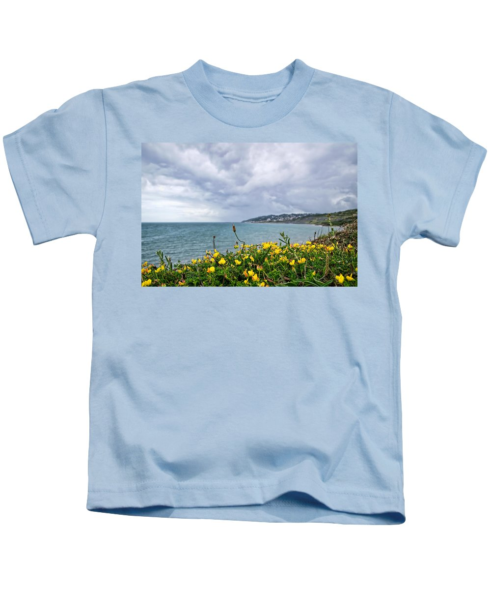 Charmouth Kids T-Shirt featuring the photograph Charmouth Overlook by Susie Peek