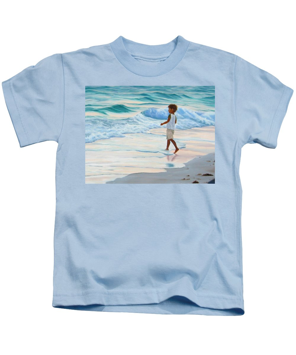 Child Kids T-Shirt featuring the painting Chasing The Waves by Lea Novak