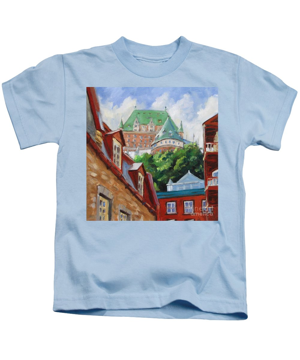 Chateau Frontenac Kids T-Shirt featuring the painting Chateau Frontenac by Richard T Pranke