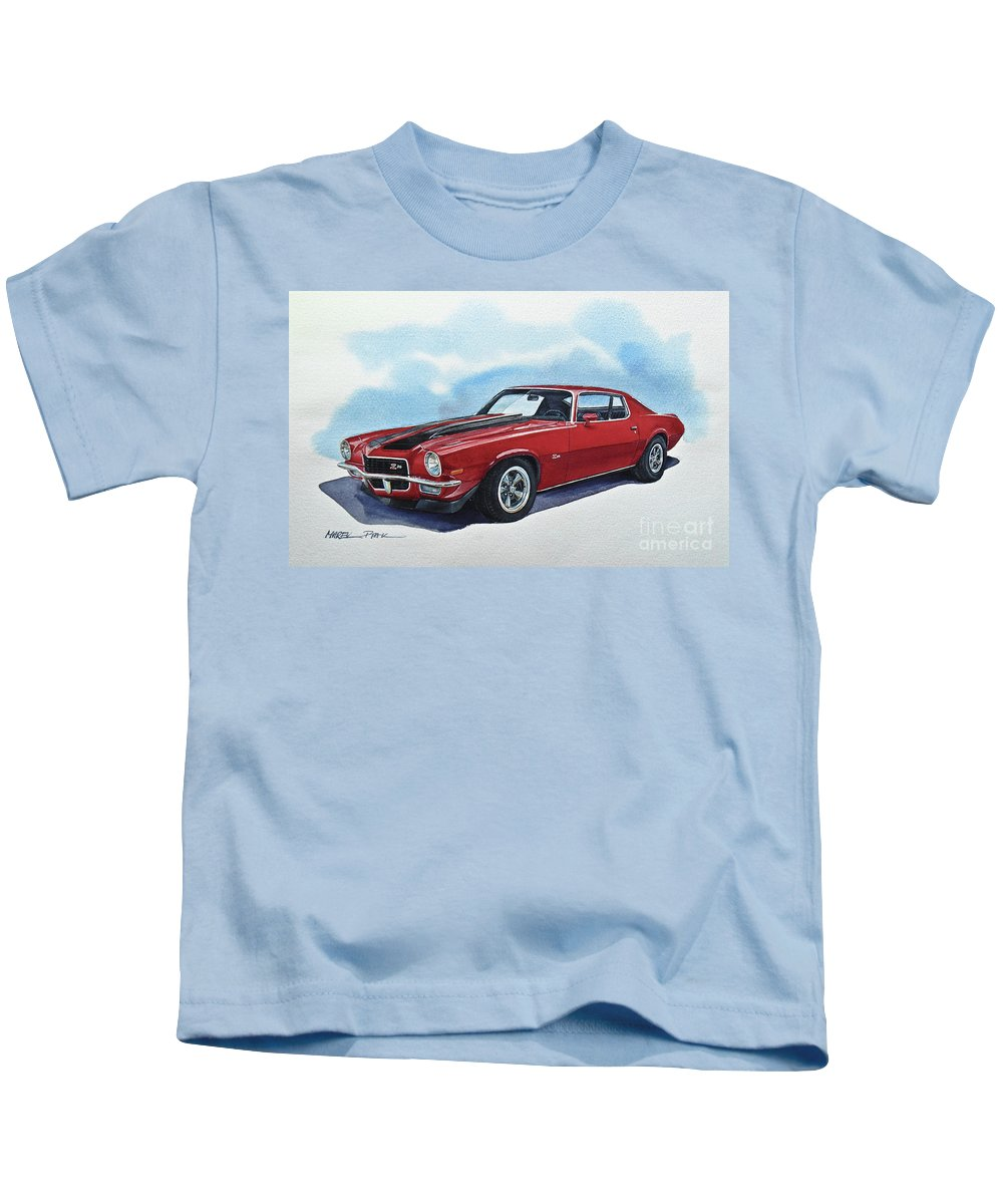 Chevrolet Camaro Kids T-Shirt featuring the painting Chevrolet Camaro Z28 by Marek Ptak