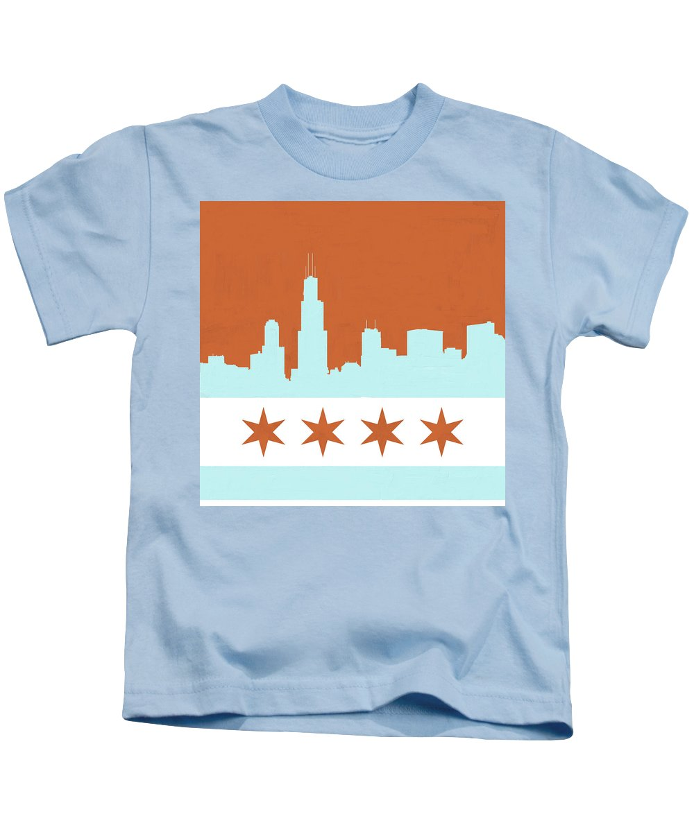 Chicago Kids T-Shirt featuring the painting Chicago Skyline 540 3 by Mawra Tahreem