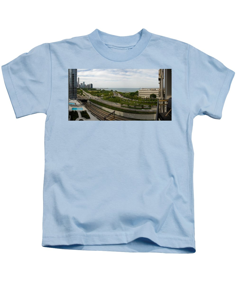 Chicago Kids T-Shirt featuring the photograph Chicago Skyline Showing Monroe Harbor by Michael Bessler