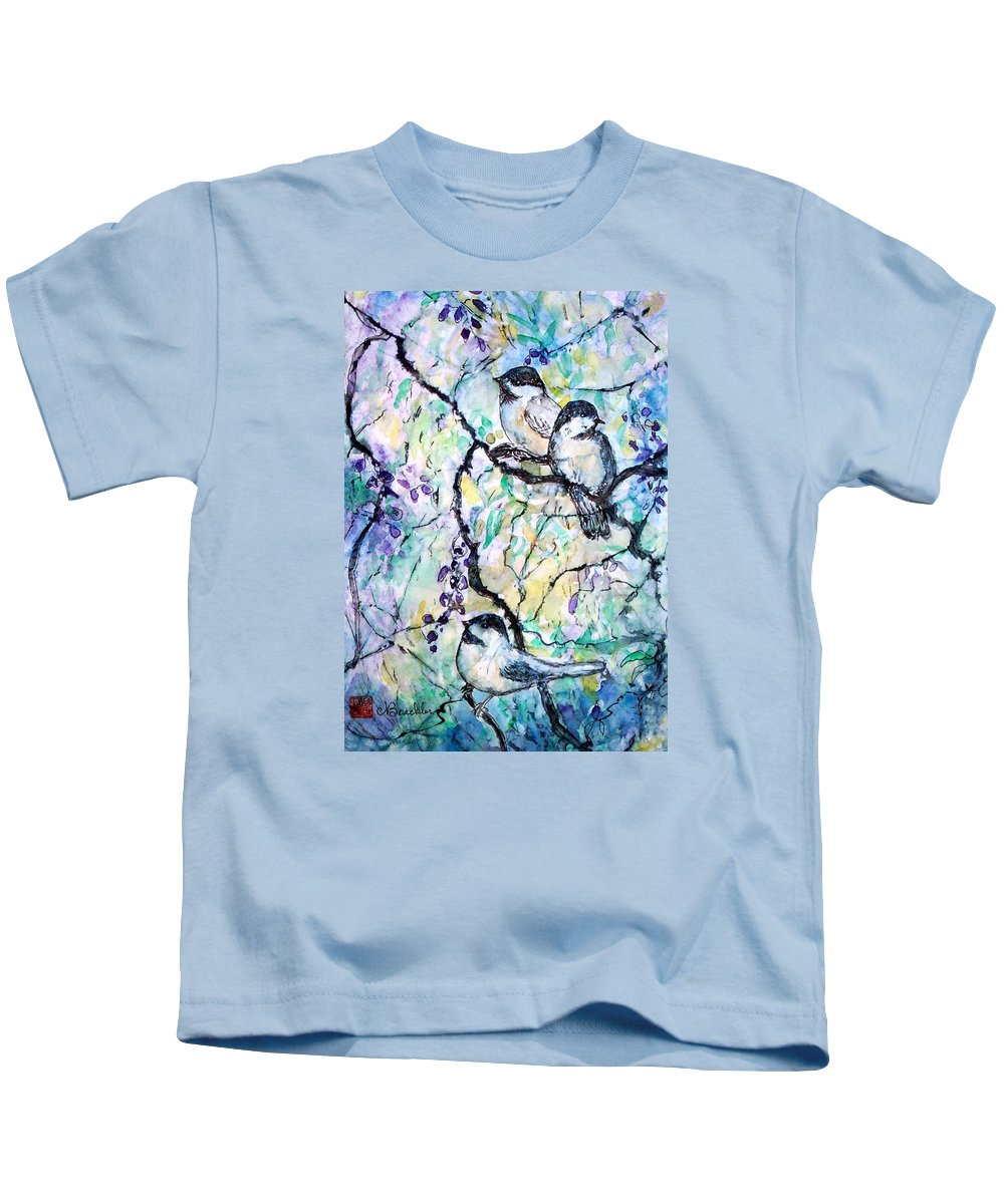 Birds Kids T-Shirt featuring the painting Chickadees by Norma Boeckler