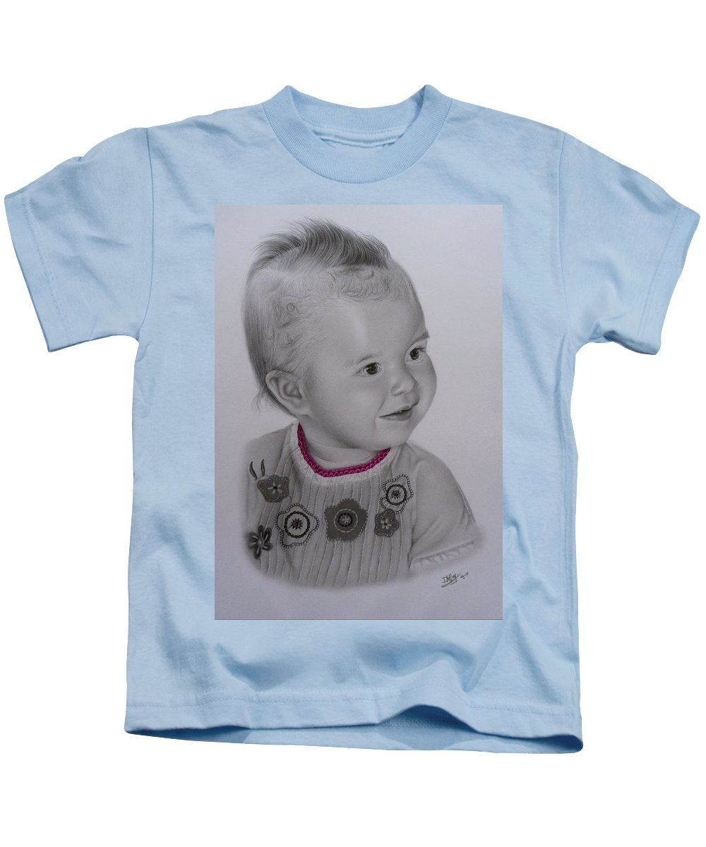 Child Kids T-Shirt featuring the drawing Child by Denise Nijs