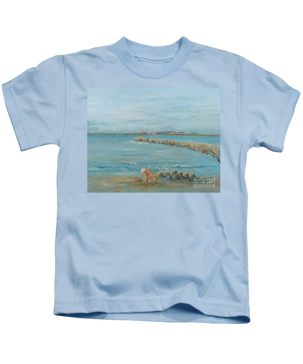 Beach Kids T-Shirt featuring the painting Child Playing at Provence Beach by Nadine Rippelmeyer