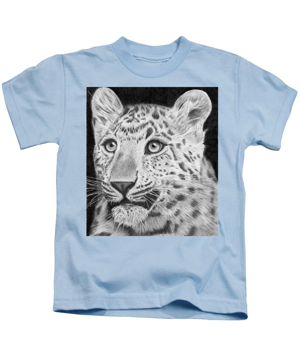 Chinese Panther Drawing Kids T-Shirt featuring the drawing Chinese Panther by Carl Moore