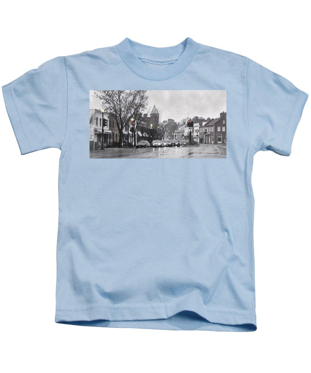 City Kids T-Shirt featuring the photograph Christmas City Street by Francesa Miller