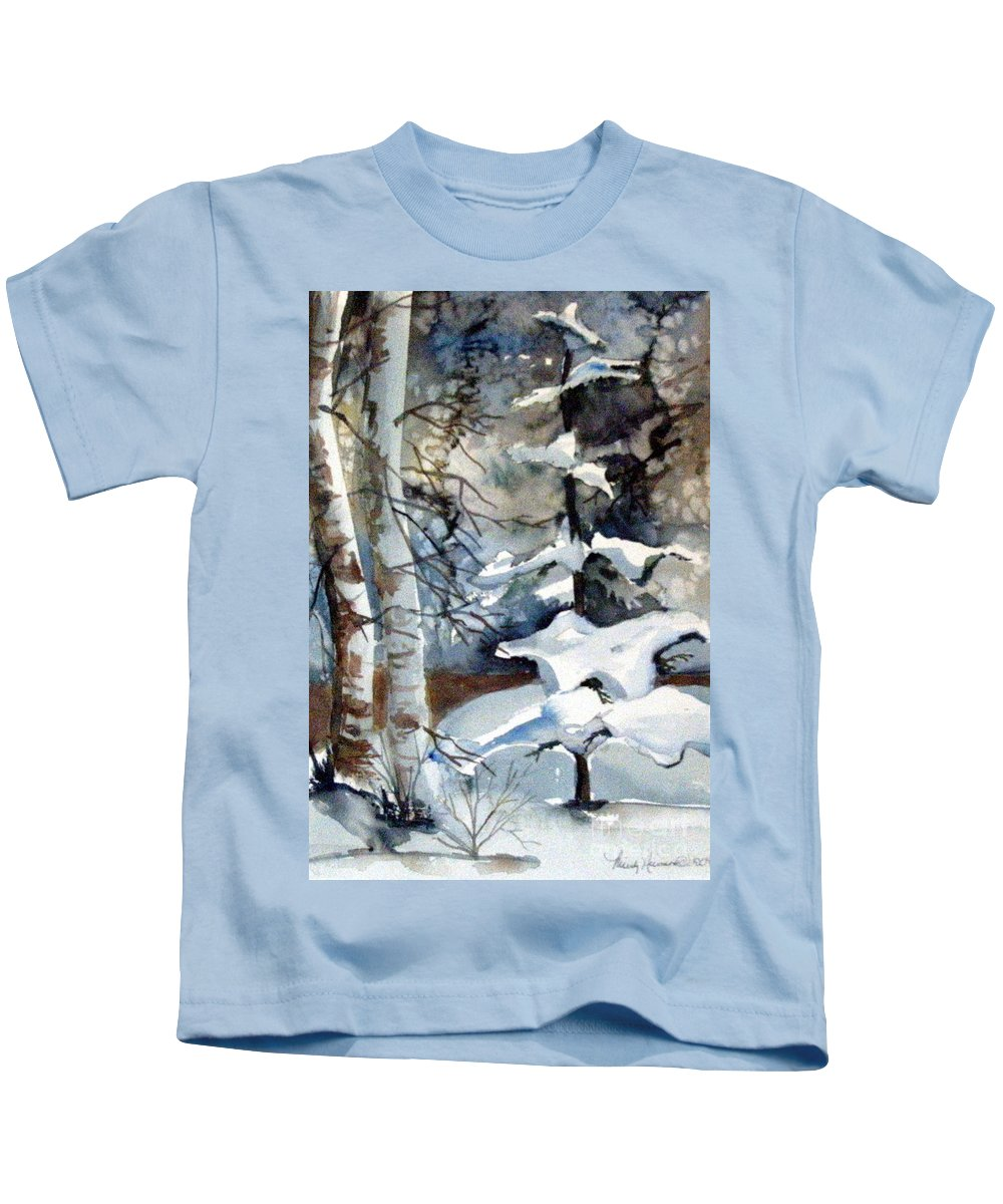 Christmas Trees Kids T-Shirt featuring the painting Christmas Trees by Mindy Newman