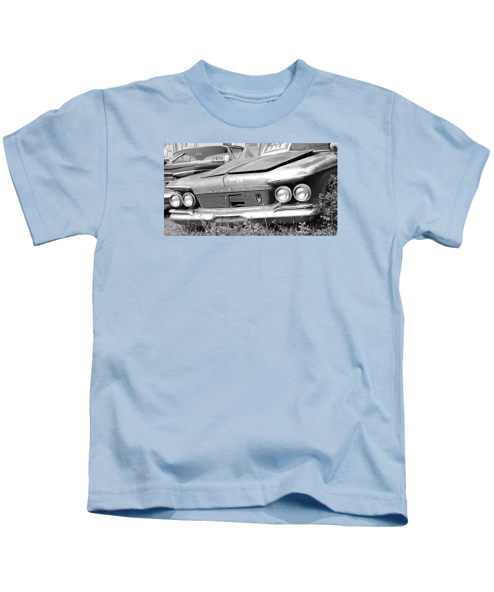 Chrysler Kids T-Shirt featuring the photograph Roadside Imperials - Bw by Brian Manfra