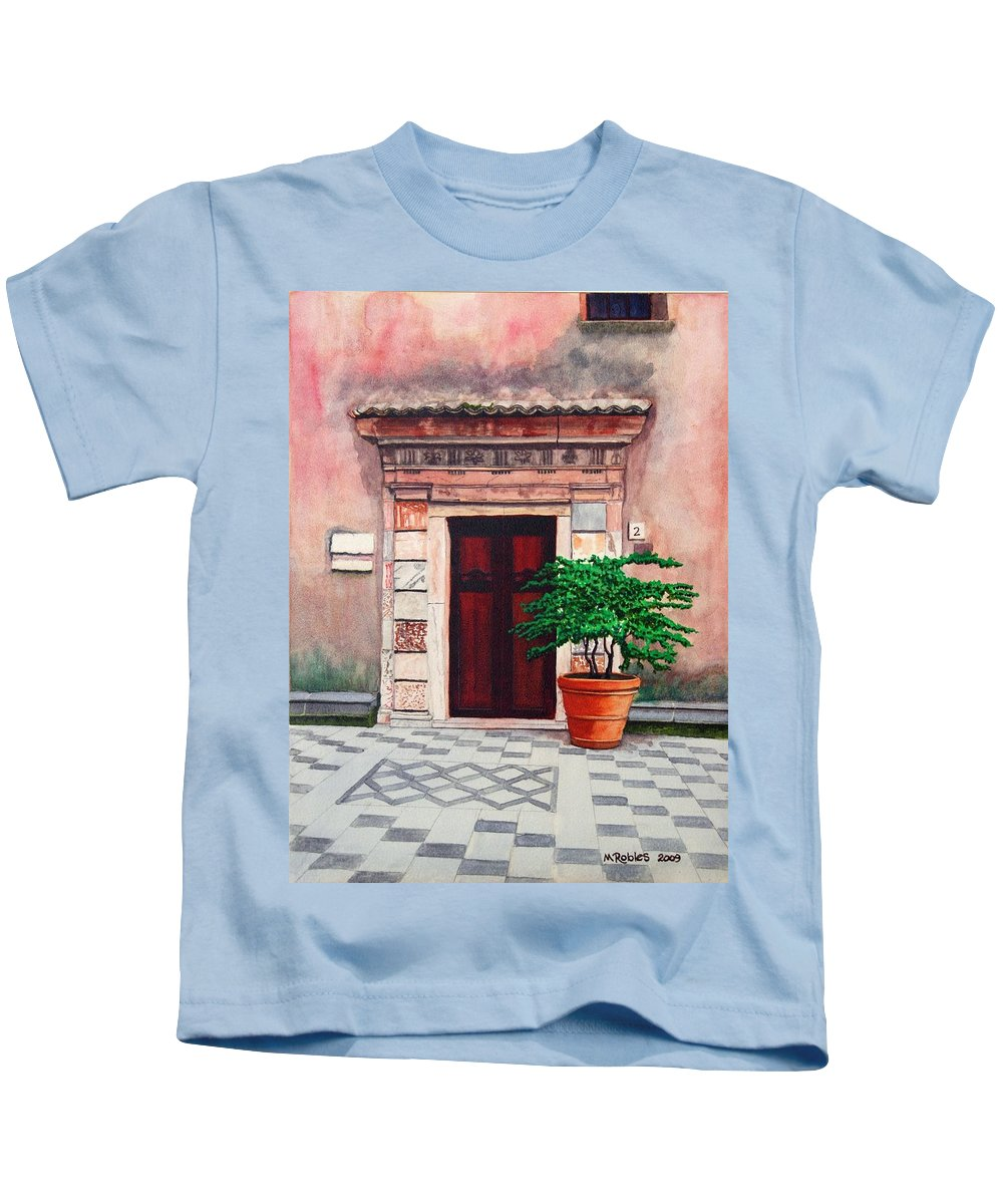 Church Kids T-Shirt featuring the painting Church Side Door - Taormina Sicily by Mike Robles